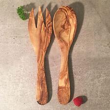 Salatbesteck Olivenholz / Salatgabel und Salatlöffel Natur Holz / Handarbeit