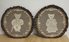 "Vintage Pair (2) of Doilies Lace Wall Hanging Hoop Mama Bear Papa Bear 10.5"""