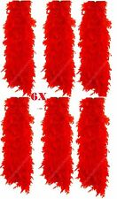 Set Of 6 Red Feather Boa Burlesque Hen Night Halloween Showgirl Party Job Lot