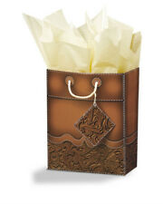 """WESTERN TOOLED LEATHER LOOK GIFT BAG EQUESTRIAN RODEO 7.75""""x9.75""""x4.5"""""""