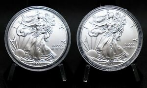 Two 2021 American Silver Eagles Gem BU (Lot of 2)
