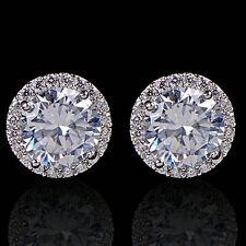 Women's Sanwood Nice Crystal Zircon Inlaid Ear Stud Platinum Plated Earrings