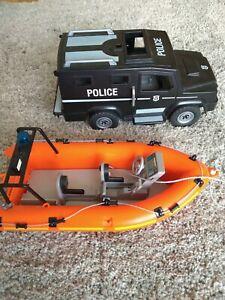 Playmobil Polizei Mannschaftswagen und Boot
