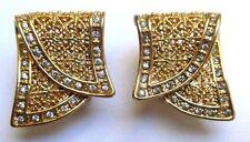 boucles d'oreilles percées bijou vintage couleur or filigrane cristal diamant 36