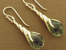 Genuine 9K SOLID Yellow Gold Green Amethyst Briolette DROP Earrings Claw Dangle