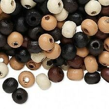 8032NB Wood Beads Mix Brown Black White Tan 6mm hand-cut round - 100 Qty