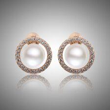 Cluster splendid 18k gold filled White pearl DASHING swarovski crystal earring