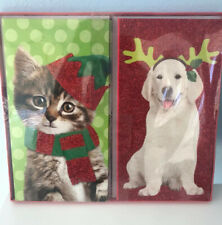 12 Cat And Dog Glittered Christmas Cards Merry Woofmas And Meowy Christmas