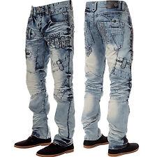 New ETO Mens Straight Leg Regular Fit Jeans Branded Funky Blue All Waist Sizes