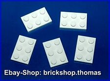 Lego 5 x Plate (2 x 3) - 3021 White Panel - White Plate Plates - New / New