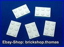 Lego 5 x Platte (2 x 3) - 3021 weiß Platten - White Plate Plates - NEU / NEW