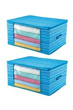 2 Pcs Home Storage Organizer Under Bed Storage Bag Household Container Blue Case