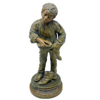 Vintage Spelter Bronze Good Morning Shoe Shine Boy Figurine Statue Sculpture