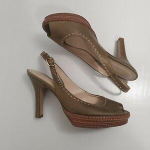 Olive Green Stitched Slingback Heels Sz 37