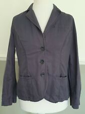 Boden Ladies Linen Cotton Jacket Blazer Petrol Blue / Grey Fitted Casual UK 14