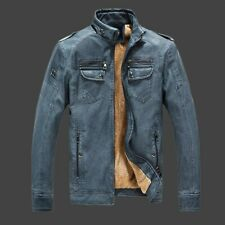 Fashion Retro Winter Mens Fur Lining Thicken Motorcycle Stand Collar Jacket Coat