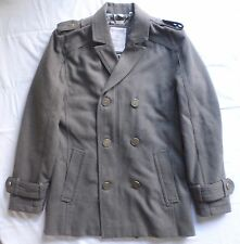 GUESS Coat Jacket Wool Olive Drab Sz M Iridescent Liner Military Peacoat Anchors