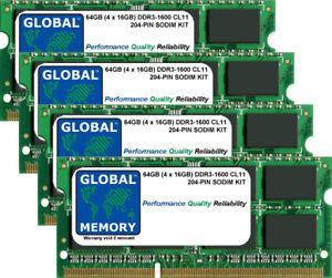 64GB (4x16GB) DDR3 1600MHz PC3-12800 204-PIN SODIMM MEMORY RAM KIT FOR LAPTOPS