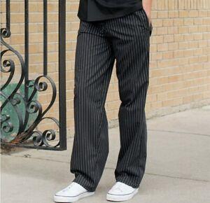 Uncommon Threads Baggy Chef Pants Chalk Stripe Pinstripe Black White Size XS