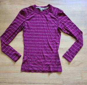 SmartWool Womens SZ S Pink Stripe Crew Base Layer Merino Wool Flaws *