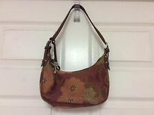 Fossil ladies handbag small hobo shoulder bag pink peach brown H6