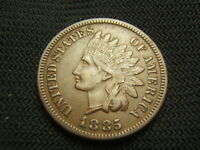 1885  Nice Brown About Uncirculated/ AU Indian copper Cent post civil war era