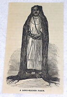 1882 small magazine engraving ~ A LONG-HAIRED FAKIR ~ man with floor length hair