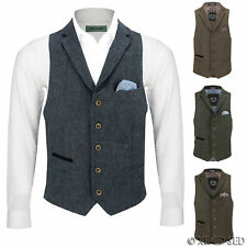 New Mens Wool Mix Herringbone Tweed Vintage Collar Waistcoat Tailored Fit Vest