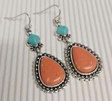 Silver Tone Turquoise & Peach/Orange Coloured Stone Drop Earrings