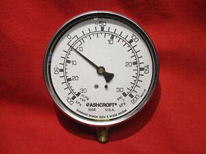 "Ashcroft Pressure Gauge, 0-30 psi, 1/4"" NPT Lower, 100MM , 10 1008 A 02L XLJ 30"
