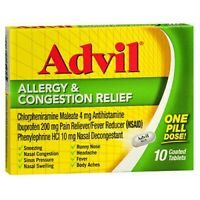 Advil Allergy Congestion Relief Coated Tablets 10 Tabs