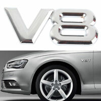 1x V8 Logo Car Metal Silver 3D Decal Badge Emblem Auto Vehicle Number Sticker