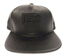 New Jersey Nets Authentic NBA New Era Leather Perforated Snapback Fit Cap Hat