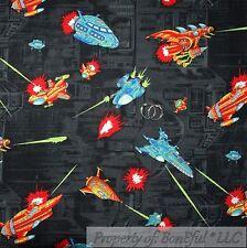 BonEful Fabric FQ Cotton Quilt VTG Dark Night Cartoon Boy Space Ship Sky Rocket