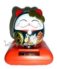 Asie : Japon Porte Bonheur Chat Kitty Maneki Neko NOIR Boule Animée PM solaire
