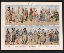 Chromo-Lithografie 1909: Volks-Trachten I. Kostüme Stoffe Seide Damast Brokat Sa