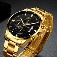 CUENA Relojes De Hombre Stainless Steel Quartz Luminous Classic Men's Watches