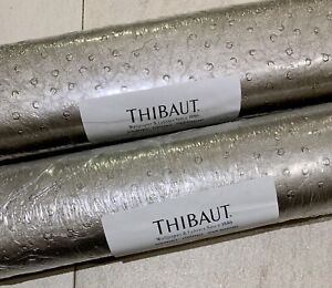 """NEW THIBAUT WALLPAPER """"NATURAL OSTRICH"""" CHIC METALLIC DOUBLE ROLL 26""""W X 9YARDS"""