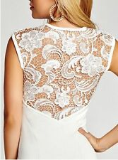 NEW WOMANS GUESS CAP SLEEVE LACE BACK BODY CON WHITE KNIT FLORAL BACK DRESS 0 XS