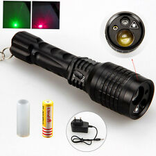 Zoomable Tactical 2000LM LED Hunting Flashlight Torch Green & Red Laser 18650