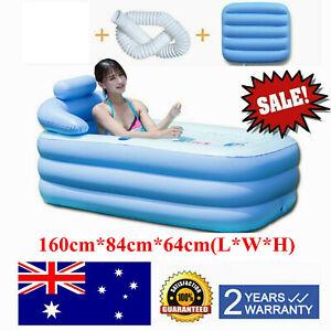 Portable Inflatable Adult Tub Travel Bath PVC Bathtub Shower Spa Swimming Pool