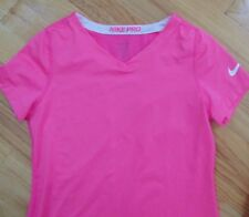 Nike Pro Pink Sports Jersey V- Neck, Dri-Fit, Juniors Med, Pre-Owned