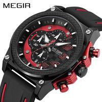 MEGIR Quartz Men Sport Watch Big Dials Silicone Strap Army Military Wristwatches