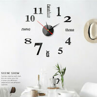 Wall Clock Watch Large Modern DIY Sticker Decal Simple 3D Roman Numeral Home HS