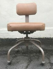 Vintage Emeco Drafting Industrial Metal Swivel Stool Adjustable Height