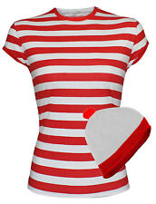 Ladies Women Red And White Stripe Hat Tees T-Shirt Party Fancy Party Dress Top