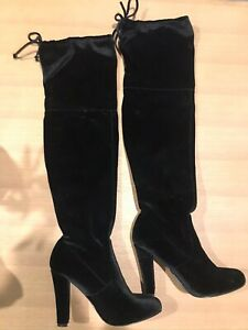 Black Thigh High Bardot Boots Size Seven Suede Material