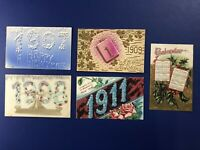 5 New Years Antique Postcards, YEAR DATES 1907-11. For Collectors. Nice w Value
