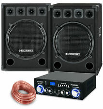 PA Anlage DJ Disco Musik Lautsprecher Boxen Bluetooth Endstufe Kabel Set 1600W