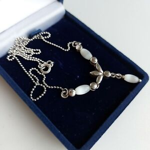 STERLING SILVER Necklace Stamped 925, Cats Eye MOP Style Beads, 5.46 grams